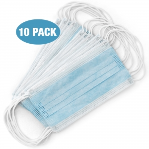 3-Ply Quality Protective Face Mask, Blue, 10/Pack