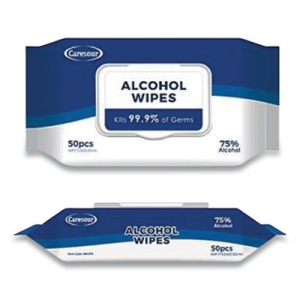 Personal Alcohol Wipes, 75% Alcohol, White, 50/Pack